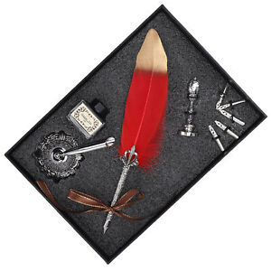 Red Feather Pen Writing Drawing Pen Replacement Nib Empty Ink Bottle Kit