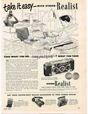 1952 Stereo Realist 3D 3-D  35mm Camera Vintage Print Ad dad at work