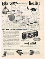 1952 Stereo Realist 3D 3-D  35mm Camera Vtg Print Ad dad at work