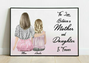 Personalised Mother & Daughter Word Art Picture Print Poster Keepsake Gift