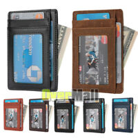 Mens Small Wallet Ultra Slim Credit Card Holder Genuine Leather RFID Blocking