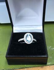 Aqua Marina y Diamante Anillo. Oval Diamantes Corte Brillante Aqua +.