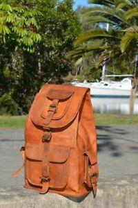 Unisex Vintage Pure Leather Backpack Rucksack Handmade Travelling Laptop Bag