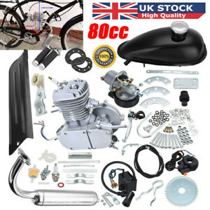 80cc Bike Bicycle Motorized 2-Stroke Petrol Gas Motor Engine Kit Full Set Silver