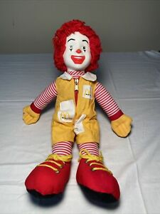 """Vintage 1984 Ronald McDonald 15"""" Plush Doll With Yellow Zipper Outfit"""