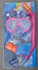 Aqua Leisure 4 pc girl dive set:swim mask,snorkel,goggles,floating case