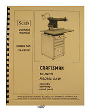 Sears Craftsman 11323100 10 Inch Radial Arm Saw Op Amp Parts Manual 1497
