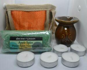Oil Burner Christmas Set with Simmering Granules Tealights in Jute Gift Bag xmas