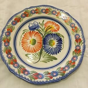 Henriot Quimper France Plate Blue Green Red Yellow Flowers F6 D107 CQ