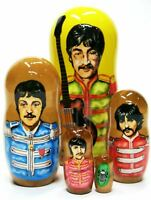 """The Beatles Sgt. Pepper 5 Piece 4.5"""" tall Russian Stacking Nesting Doll Set"""