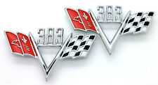 NEW Custom 383 Cross Flag Fender Emblem Set / 1960s Chevrolet Chevy Style Trim