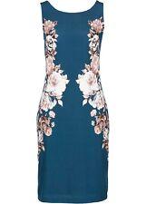 Premium Shirtkleid Gr 48/50 Blaupetrol Bedruckt Bürokleid Kurzes Etui-Kleid Neu*