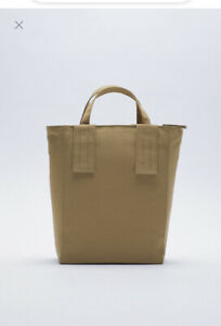 zara RECTANGULAR TOTE BAG BEIGE new with tag