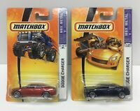 Matchbox Red & Blue Dodge Charger Diecast Cars Lot Of 2 NOS 2005 2006