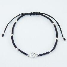 Handcrafted Macrame work wax cotton bracelet silver Om Symbol & Sphere Beads