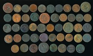 48 OLD CANADA LARGE CENTS & TOKENS (COLLECTIBLES) > SEE IMAGES > NO RESERVE