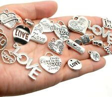 5 Love Word Charms Themed Pendants Heart Mixed Lot Assorted Set Valentine's Day