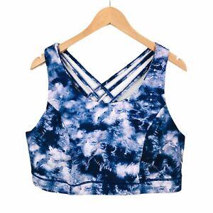 Torrid Blue Tie Dye Strappy Back Sports Bra 3X