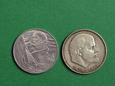 2x1 Set RUBLO 2 monete, RIVOLUZIONE D'OTTOBRE 60 ANNIVERSARIO URSS RUSSIA. 1977/1970