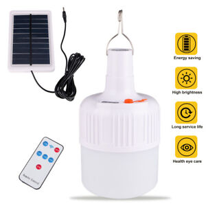 Solar Panel Powered LED Bulb Emergency Camping Tent Light Rechargeable+ Remote