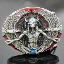 Antique Silver 3D Indian Chief Nagual 2 Eagles Rodeo Zuni Navajo Belt Buckle