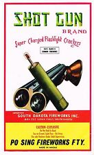 FIRECRACKER FIREWORKS LABEL SHOT GUN BRAND GENUINE BRICK VINTAGE SOUTH DAKOTA