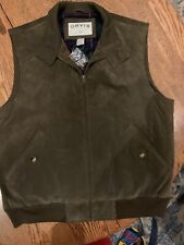 Orvis Mens Vest 100% Leather Plaid Flannel Check Liner Full Zip Size L