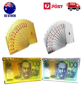 Gold Silver Plated Playing Cards Australian $100 Poker 54 Deck Casino Waterproof