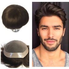 Fine Mono Toupee Mens Human Hair Replacement Poly Around Men's Hairpieces System