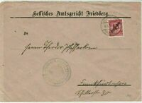 Germany 1924 Coat of Arms Freidberg Slogan Cancel Official Stamps Cover ref22929
