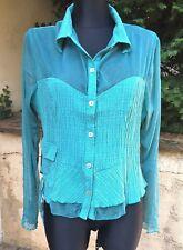 haut Jacqueline RIU t5 XL 42 44 plissé voile vert blouse chemise top TBE