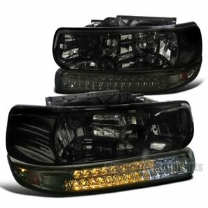 For 1999-2002 Silverado 1500 / 2000-2006 Tahoe Smoke Headlights LED Bumper Lamps