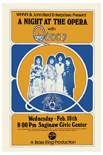 Freddie Mercury: Queen * Night at the Opera * Saginaw Concert Poster 1976 12x18