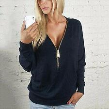 Womens Blouse Zipper V Neck Long Sleeve Ladies Sweatshirt Loose Casual Top Shirt
