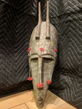 Large Horned Marka Mask with Metal & Tassels — Authentic Carved Wood African Art