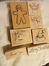 Vintage Lot of 7 Wood Mounted Rubber Stamp Christmas, Ginger Bread, Snowman, Hat