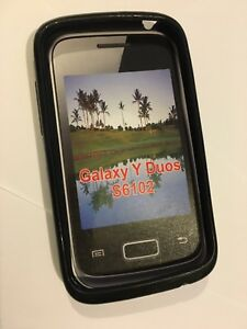 Samsung Galaxy Y Duos S6102 Fitted TPU Flexible Gel Skin Case in Black Brand New