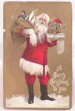 Santa Claus Postcard Christmas Series 525 Holds Sack of Toys Die Cut #7