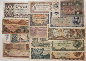 HUNGARY 16PCS Pengo Korona Banknote Collection MIX Paper Money 1915 - 1946 VF