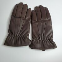 Aris Isotoner Brown Leather Thinsulate Lining Driving Gloves Women's Size Medium