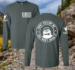 Off Roading Jeep Bronco Shirt Jeep flag wave army star Long Sleeve T-Shirt Tee