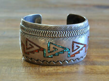 Vintage Navajo Sterling Silver Turquoise And Coral Chip Inlay Wide Cuff Bracelet