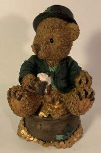 "Lucky Irish Bear Sitting On A Pot Of Gold St. Patrick's Day Figurine 4 ¼"" Tall"