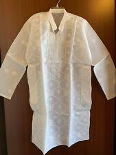 """NEW!  Lucknowi Chikankari Kurta Pajama White Cotton Chikan Embroidery 42"""" Chest"""