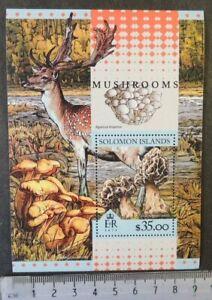 Solomon Islands 2016 mushrooms fungi stag deer animals s/sheet mnh