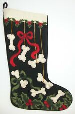 Vintage Embroidered Puppy Dog Bone Christmas Stocking Black Wool