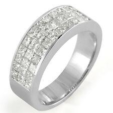 1.75 Ct Princess Diamond Women's Men's F VS1 Wedding Band Ring 14k White Gold