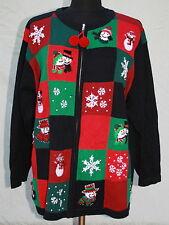 Victoria Jones Woman Sz 1X Plus Zip Front Cardigan Sweater Ugly Christmas Black