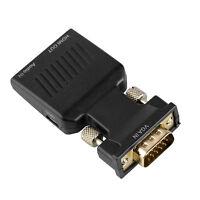 VGA Male 15 Pin to HDMI Female Port 1080P Video Audio Converter Plug Adapter