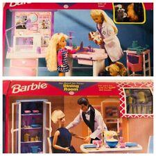 Vintage 1997 Mattel Barbie Play Sets- Vet Center & Dining Room- New & Sealed!